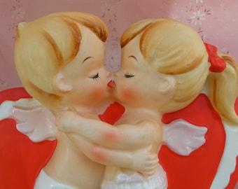 SALE...Adorable Kissing Angels...Lefton..Vintage Ceramic Planter...Flower Vase...Super SWeet!!!