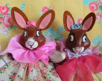 Ooak Easter Bunnies..Easter Decor...Vintage Inspired...Ooak Art Dolls...Wedding Cake Topper...Paper Clay... Sisters....Handmade and OOAK