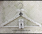 Paris Polka Dots, French Inspired Hanger with Ribbon Accent and French Hang Tag,Hand Painted,  ECS, CSSTeam
