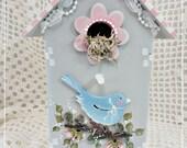 Decorative Designer Bird House, Hand Painted Cottage Display Accent, Original, Shelf Sitter, Collectible, ECS