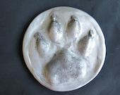 3D Dog, Cat, or  Pet Pawprint Ornament-silver antique
