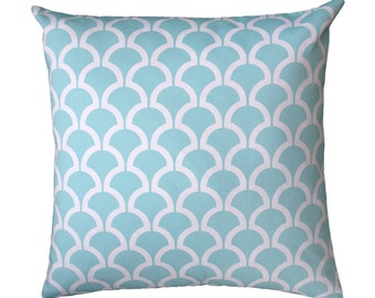Aqua and White Billow Geometric Arches Cushion Cover, Double Sided