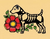 Day of the Dead Dog JACK RUSSELL TERRIER Dia de los Muertos Art Print 5 x 7, 8 x 10 or 11 x 14 - Choose your words - Shelter Donation