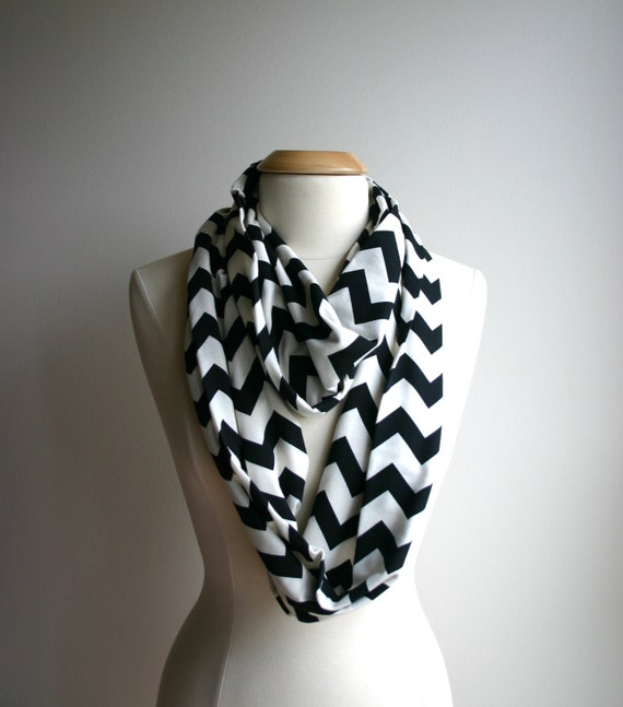 sale infinity scarf black and white chevron by justjaynes
