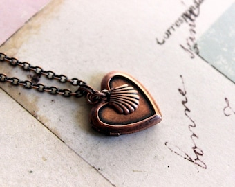 sea shell. locket necklace. copper ox style B