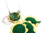 Emerald Green And Yellow Crocheted Coasters-Set Of Four