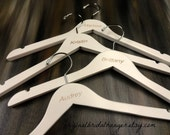 Engraved Wood Hangers Brides Hangers Wedding Photo Props Personalized White Wood