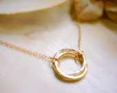 Entwined Together Two Circle Pendant with Gold Filled Chain Infinity Necklace Karma Circle Necklace MADE TO ORDER