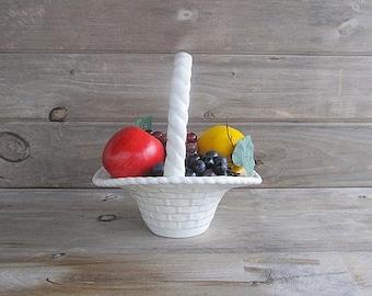 Vintage Flower Basket, Fruit Basket, Ceramic Basket, White Basket, Wedding Decoration