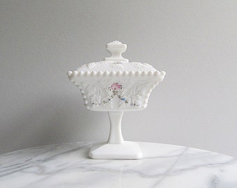 Vintage Milk Glass Covered Dish, Footed Wedding Dish, Hand Painted Milk Glass Dish, Wedding Decoration, Candy Dish