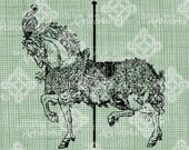 Digital Download Carousel Horse digi stamp, digital graphic, Elegant, Antique Illustration, Digital Transfer, Merry-Go-Round Carnival Horse