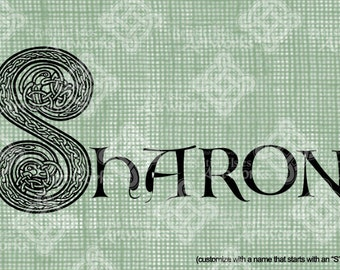 "Digital Download Letter S Celtic Knots Illumination, Animal Inspired, Customize Name or use ""S"" image alone, digi stamp, St Patricks Day"