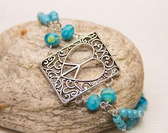Love Heart Peace blue sign heartpeace peacesign turquoise blue beaded hippie hipster boho chic bracelet lovepeace heartpeacesign bracelet