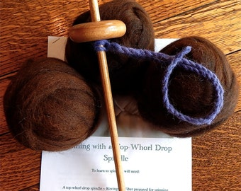 "Drop Spindle Kit  1 Ounce Baby Soft Alpaca Rovings, 12"" Drop Spindle Top Whorl, Drop Spindle Spinning Instructions  Starter Kit Handmade"