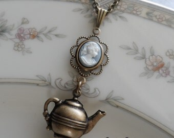 Time for Tea, Cameo and Teapot Necklace- Brass Ox