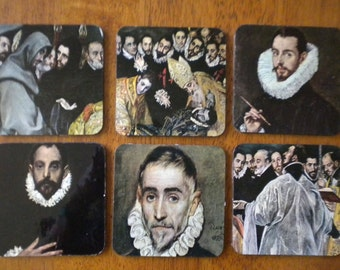 6 Vintage El Greco coasters with felt backing