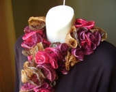 Autumn Coloured Knitted Ruffled Scarf