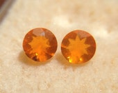 Bright Orange 0.40 tcw Pair of Natural Round Cut Mexican Fire Opals