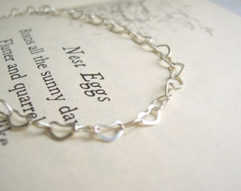 Silver Hearts links bracelet - beautiful delicate chain with swarovski crystal - stackable layering