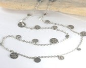 Long Layered Antique Silver Necklace with Antique Silver Discs, Long Silver Necklace #685