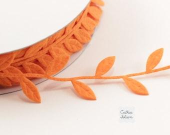 3 Yards Leaf Ribbon - Orange Felt - Scrapbooking, Gift Wrapping, Trim, Halloween, Thanksgiving