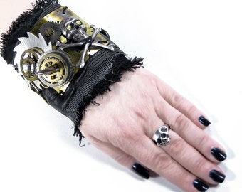 Steampunk Cuff APOCALYPTIC Black Leather SPIN Brass Gears Silver Saw Tooth Skull INDuSTRIAL Rocker Cuff - Steampunk Clothing by edmdesigns