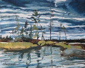"Art Original Landscape Oil Painting FREE SHIPPING Wet Land Sky Cloud "" The Island At Barbue Lake Frontenac National Park Quebec ""By Fournier"