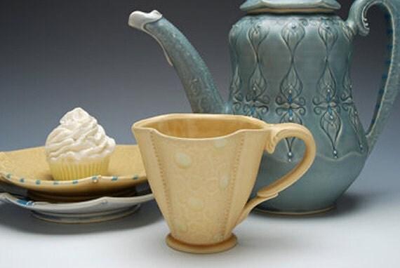 Handmade tea mug (clover) in Honeycomb yellow w. polka dots, Victorian modern
