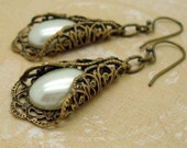 Victorian Earrings, Handmade, Off White Jewelry, Cream Pearl Drop Earrings, Brass Filigree, Manmade Pearl Cabochon, USA Artisan