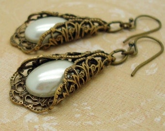 Neo Victorian Earrings with Folded Brass Filigree and Cream Man-made Pearls