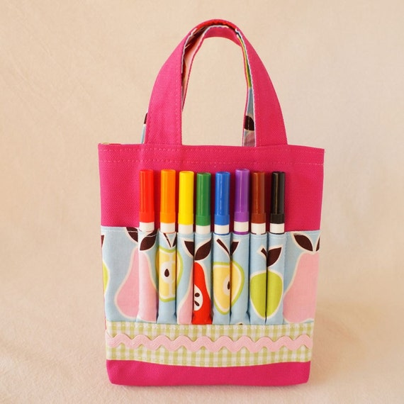 Crayon Bag Crayon Tote READY to Ship ARTOTE MINI in Fruit Salad