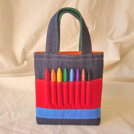 Coloring Bag Crayon Tote Ring Bearer Gift Crayon Tote ARTOTE MINI in Colorblocks