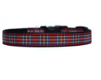 5/8 or 3/4 Inch Wide Dog Collar with Adjustable Buckle or Martingale in Royal Stewart