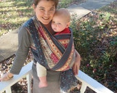 Woven Wrap Baby Sling Carrier - Paisley Border - DVD included - 5 yard length