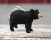 Small Black Bear Cub - Needle Felted Christmas Ornament