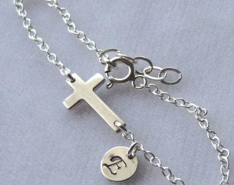 Sterling Silver Sideways Cross Confirmation  Bracelet, Personalized, Monogram, Flower Girls Bracalet, First Communion, Baptism, Sideways