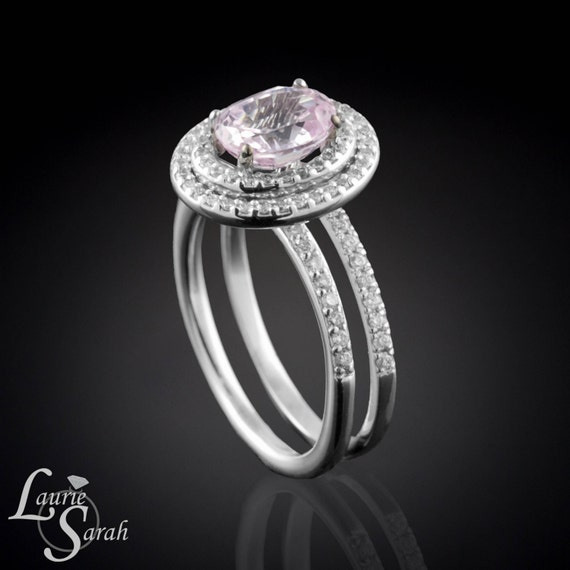 Oval Cut Light Pink Sapphire Engagement Ring by LaurieSarahDesigns
