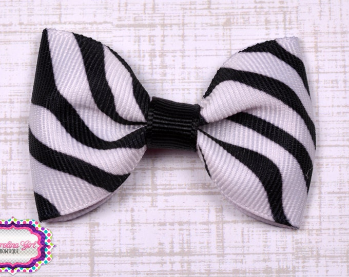 "Zebra Tuxedo Bow  ~ 2.5"" Hairbow ~ Small Hair Bow ~ Girls Barrette ~ Toddler Bow ~ Baby Hair Bow ~ Hair Clip ~ Girls Hair Bow"