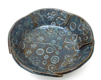 Slate Blue Small Textured Floral Handmade Ceramic Pottery Serving Bowl