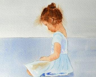 Ballet, Ballerina Art, Fine Art Print of Watercolor Painting of a Shy Little Dancer