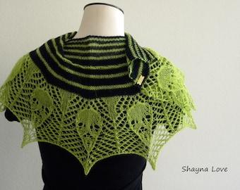 13 Skulls - Handmade knit scarf or shawl - neon green black stripes in silk angora & merino wool