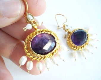Amethyst AND Pearl Earring