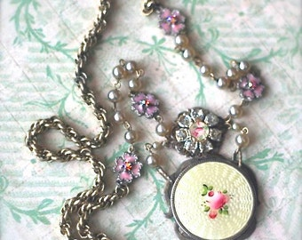 SOLD Reserved Foir A. Necklace-A Little Budding Rose