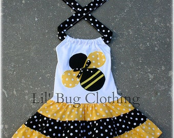 Bumble Bee Girls Dress, Bumble Bee Outfit, Yellow Black Polka Dot Bumble Bee Tiered Summer Dress, Birthday Part Bumble Bee Girls Dress