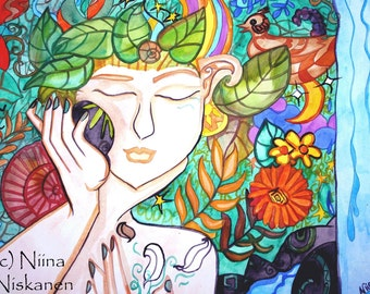 Earth awakening ACEO Print - Goddess Art - Nature Art - by Niina Niskanen