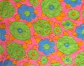 Vintage brilliant day glo flower / floral print fabric, pink, lime green, orange, and blue, 1 yard