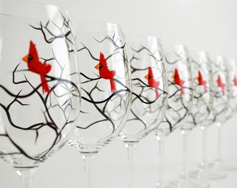 Christmas Cardinal Wine Glasses - Set of 12 Hand Painted Red Bird Christmas Glasses