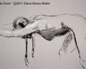 Original charcoal drawing -- BRAIDS DOWN -- unframed 12x17 inch nude figure study, by Diana Moses Botkin
