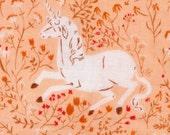 Heather Ross Far Far Away Unicorn in Blush by Kokka 1yard