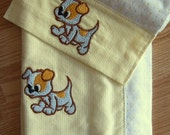 FLANNEL BABY BLANKET and Burp Cloth Set - Yellow and Blue - Embroidered Puppy